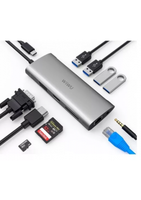 Adaptador HUB 11x1 Wiwu USB - C to RJ45, HDMI, VGA, 4USB, Card Reader, 3.5 mm audio and Type C